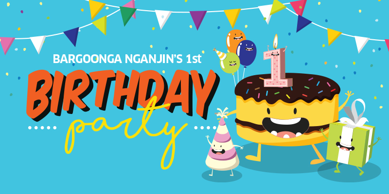 Cartoon cake presents and wording for bargoonga's first birthday